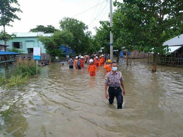 缅甸因洪水肆虐已经设立190多个水灾避难所