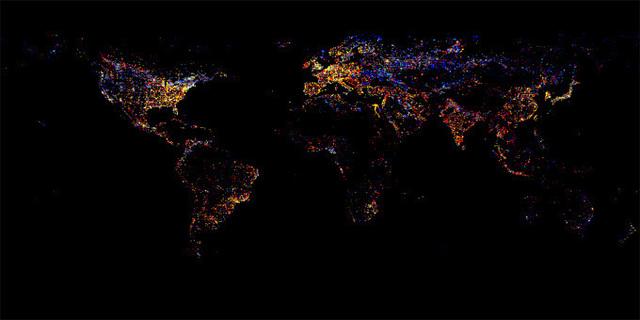 卫星拍摄的最新全世界夜景图