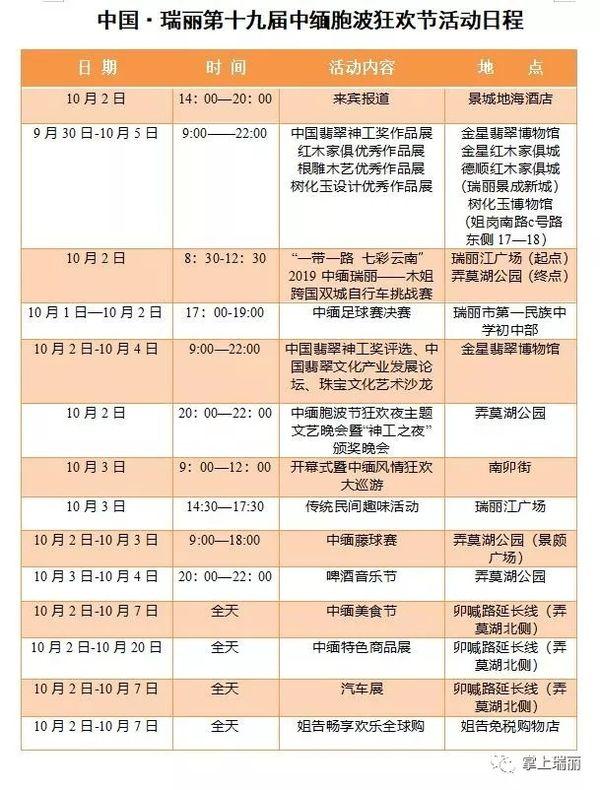 【重磅消息】新一届中缅胞波狂欢节日程出炉!