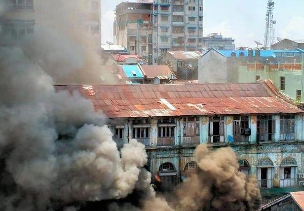 缅甸仰光市区发生火灾